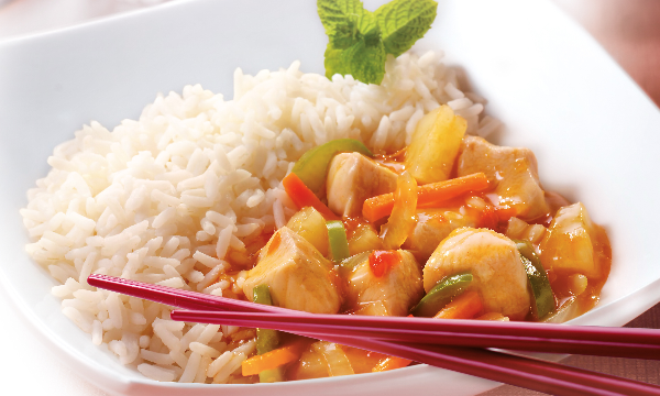 Tops Foods inflight meal Chicken Sweet and Sour, Kip zoetzuur